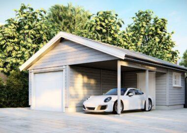 dobbel garasje med carport