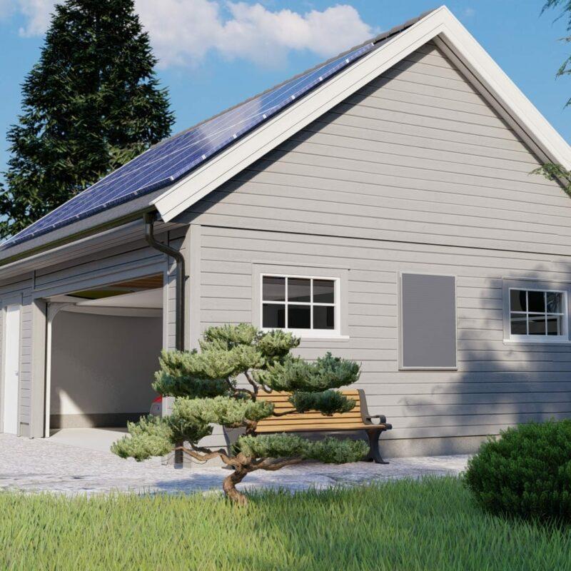 grå garasje med solcellepanel