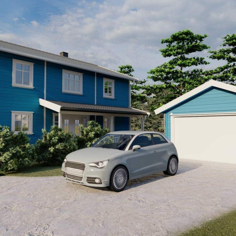 blå enkelgarasje med en port av modellen fjære